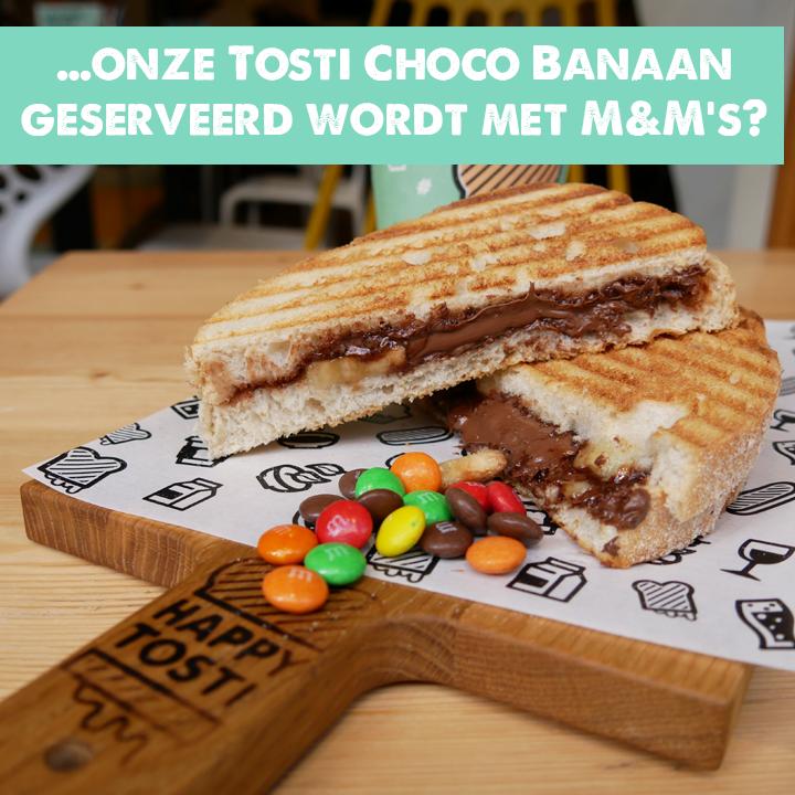 Tosti Choco Banaan met M&M's